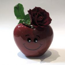 A red rose in a deep red heart shaped pot / Ένα κόκκινο τριαντάφυλλο μέσα σε κόκκινο βαζάκι σε σχήμα καρδιάς